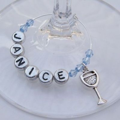 Wine Glass Personalised Wine Glass Charm
